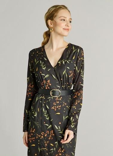 NGSTYLE Çıtır Çiçek Desenli Elbise Siyah